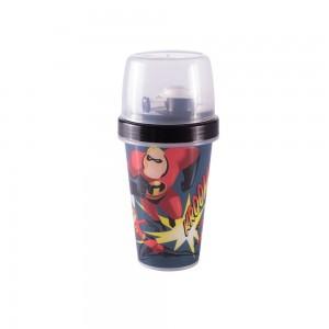 Imagem do produto - Mini Shakeira de Plástico 320 ml com Misturador Fechamento Roscae Sobretampa Articulável Os Incríveis