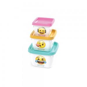 Imagem do produto - Conjunto de Potes Quadrados Conect 3 Unidades Emoji