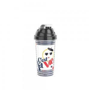 Imagem do produto - Shakeira de Plástico 580 ml com Tampa Rosca e Misturador Emoji