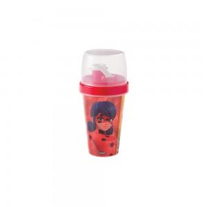 Imagem do produto - Mini Shakeira de Plástico 320 ml com Misturador, Fechamento Rosca e Sobretampa Articulável Miraculous