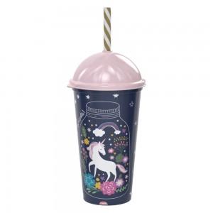 Imagem do produto - Copo Shake de Plástico 500 ml com Tampa e Canudo Unicórnio