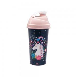 Imagem do produto - Shakeira de Plástico 580 ml com Tampa Rosca e Misturador Unicórnio