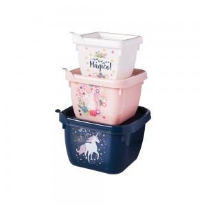 Imagem do produto - Conjunto de Potes de Plástico Quadrados Conect Unicórnio 3 unidades