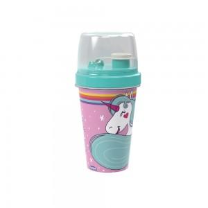 Imagem do produto - Mini Shakeira de Plástico 320 ml com Misturadoe, Fechamento Rosca e Sobretampa Articulável Unicórnio