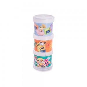 Imagem do produto - Conjunto Organizador de Plástico Empilhável com Tampa Rosca Meu Malvado Favorito 3 Unidades