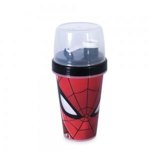 Imagem do produto - Mini Shakeira de Plástico 320 ml com Misturador, Fechamento Rosca e Sobretampa Articulável Homem Aranha