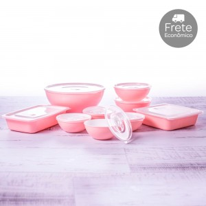 Imagem - Kit de Potes - 9 Peças | Duo 360° 001254-3878 Rosa