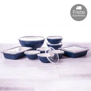 Imagem - Kit de Potes - 9 Peças | Duo 360° 001254-3879 Azul