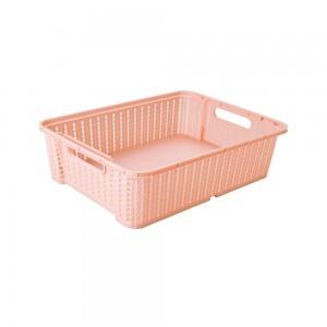 Imagem do produto - Cesta de Plástico Retangular Organizadora 5,8 L Empilhável Trama Rosa