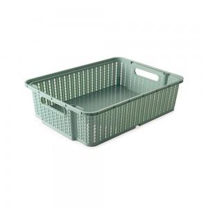 Imagem do produto - Cesta de Plástico Retangular Organizadora 5,8 L Empilhável Trama Verde