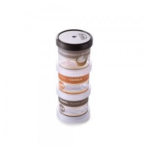 Imagem do produto - Conjunto Organizador de Plástico Empilhável com Tampa Rosca para Condimentos 3 Unidades