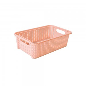 Imagem do produto - Cesta de Plástico Retangular Organizadora 2,1 L Empilhável Trama Rosa
