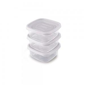 Imagem do produto - Conjunto de Potes de Plástico Quadrados 580 ml Clic 3 Unidades