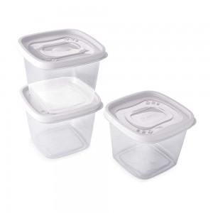Imagem do produto - Conjunto de Potes de Plástico Quadrados 1,2 L Clic 3 Unidades