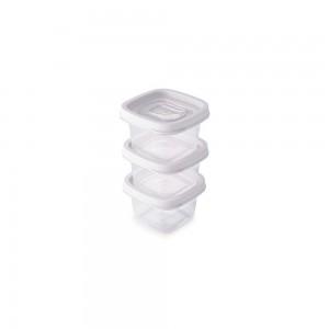 Imagem do produto - Conjunto de Potes de Plástico Quadrados 200 ml Clic 3 Unidades