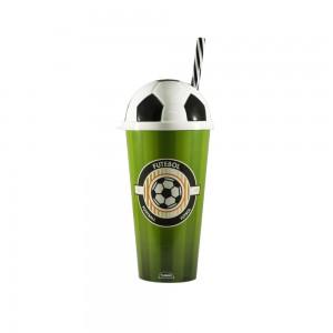 Imagem do produto - Copo de Plástico 540 ml com Tampa e Canudo Bola de Futebol