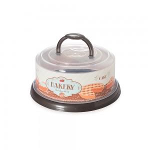 Imagem do produto - Boleira de Plástico Redonda com Tampa Rosca e Alça Retrô