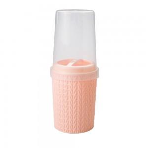 Imagem do produto - Porta Escovas e Creme Dental de Plástico com Tampa Trama Rosa
