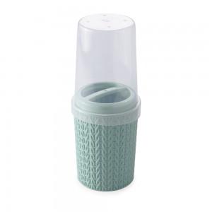 Imagem do produto - Porta Escovas e Creme Dental de Plástico com Tampa Trama Verde