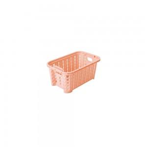 Imagem do produto - Cesta de Plástico Retangular Organizadora 460 ml Empilhável Trama Rosa