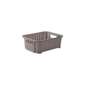 Imagem do produto - Cesta de Plástico Retangular Organizadora 990 ml Empilhável Trama Cinza