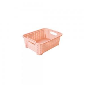 Imagem do produto - Cesta de Plástico Retangular Organizadora 990 ml Empilhável Trama Rosa
