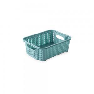 Imagem do produto - Cesta de Plástico Retangular Organizadora 990 ml Empilhável Trama