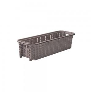 Imagem do produto - Cesta de Plástico Retangular Organizadora 920 ml Empilhável Trama Cinza