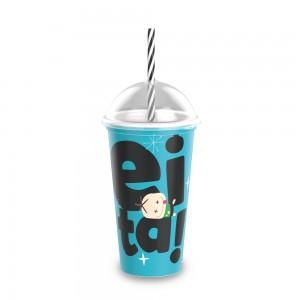 Imagem do produto - Copo Shake de Plástico 500 ml com Tampa e Canudo Mônica Toy Cebolinha