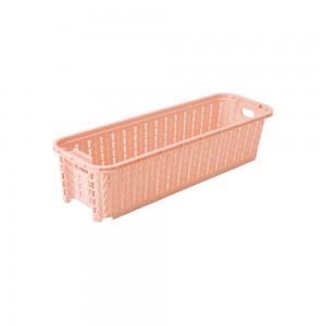 Imagem do produto - Cesta de Plástico Retangular Organizadora 920 ml Empilhável Trama Rosa