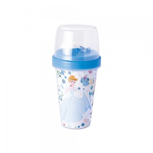 Imagem do produto - Mini Shakeira de Plástico 320 ml com Misturador, Fechamento Rosca e Sobretampa Articulável Princesas Cinderela