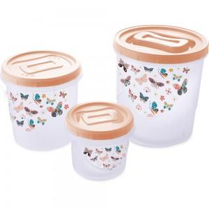 Imagem do produto - Conjunto de Potes de Plástico Redondos para Mantimentos Rosca Borboleta 3 Unidades