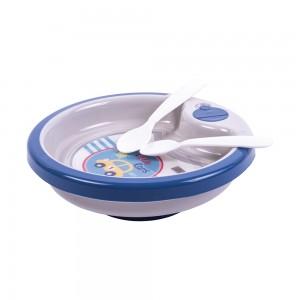 Imagem do produto - Prato Térmico de Plástico 450 ml com Ventosa e 2 Colheres Carrinhos