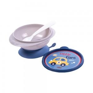 Imagem do produto - Tigela de Plástico 240 ml com Ventosa Colher e Tampa Carrinhos