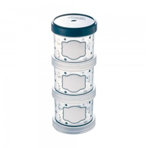 Imagem do produto - Conjunto Organizador de Plástico Empilhável com Tampa Rosca Fazenda 3 Unidades