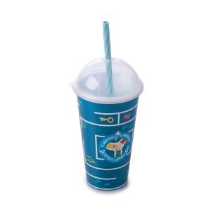 Imagem do produto - Copo Shake de Plástico 500 ml com Tampa e Canudo Dpa, Detetives do Prédio Azul