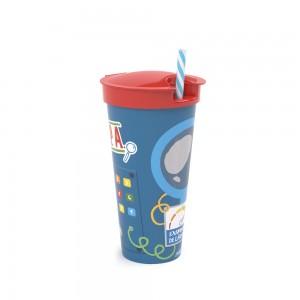 Imagem do produto - Copo de Plástico 540 ml com Compartimento Dpa, Detetives do Prédio Azul