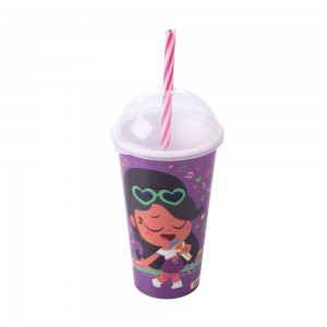 Imagem do produto - Copo Shake de Plástico 500 ml com Tampa e Canudo Anittinha
