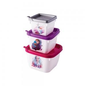 Imagem do produto - Conjunto de Potes de Plástico Quadrados Conect Frozen 3 unidades