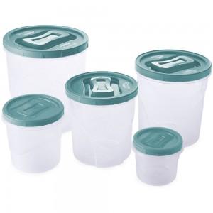 Imagem do produto - Conjunto de Potes de Plástico Redondos para Mantimentos Rosca 5 Unidades