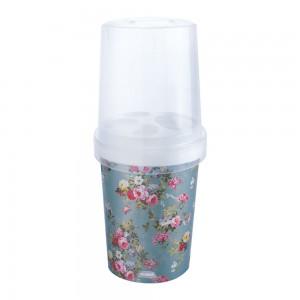 Imagem do produto - Porta Escovas e Creme Dental de Plástico com Tampa Floral