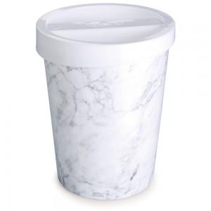 Imagem do produto - Lixeira de Plástico 5,5 L com Tampa Mármore Branco