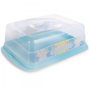 Imagem do produto - Boleira de Plástico Retangular com Tampa Abacaxi