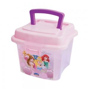 Imagem do produto - Caixa de Plástico 1 L com Tampa Fixa, Trava e Alça Princesas