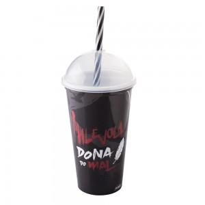 Imagem do produto - Copo Shake de Plástico 500 ml com Tampa e Canudo Malevola