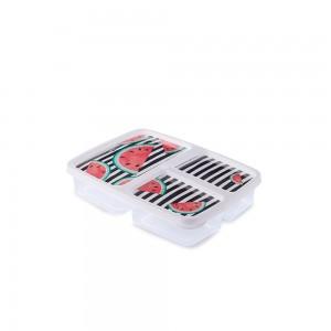 Imagem do produto - Pote de Plástico Retangular 1 L com 3 Divisórias Clic Melancia