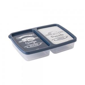 Imagem do produto - Pote de Plástico Retangular 1,1 L com 2 Divisórias Clic Fazenda