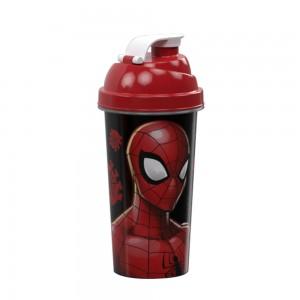 Imagem do produto - Shakeira de Plástico 580 ml com Tampa Rosca e Misturador Homem Aranha