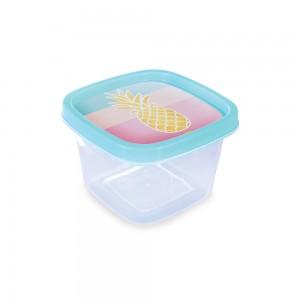 Imagem do produto - Pote de Plástico Quadrado 500 ml Clic Abacaxi