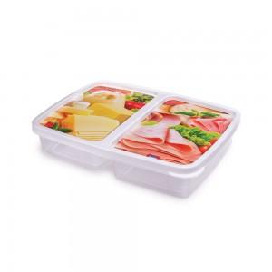 Imagem do produto - Pote de Plástico Retangular 1,1 L Presunto e Queijo com 2 Divisórias Clic
